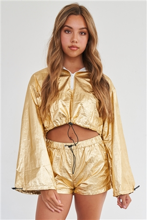 Metallic Gold Water Proof Hooded Draw String Crop Top & Short Sporty Activewear Set /2-2-2