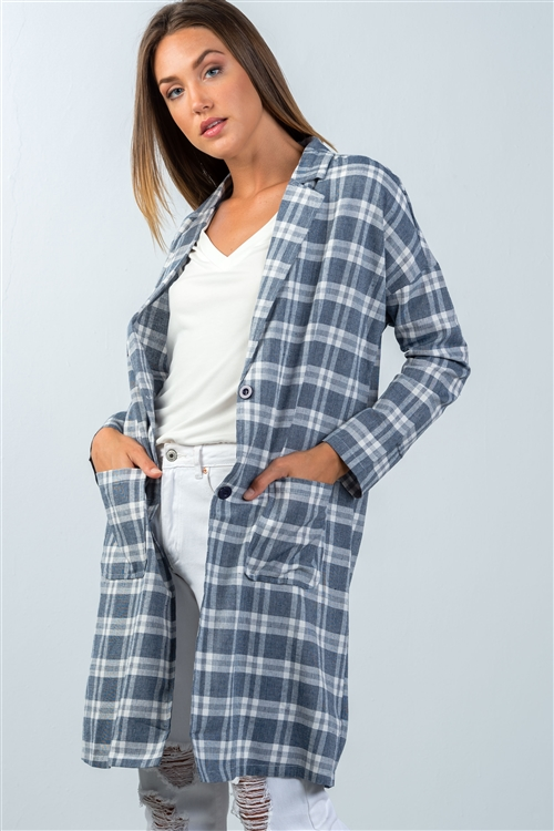 Navy Plaid Longline Oversized Blazer