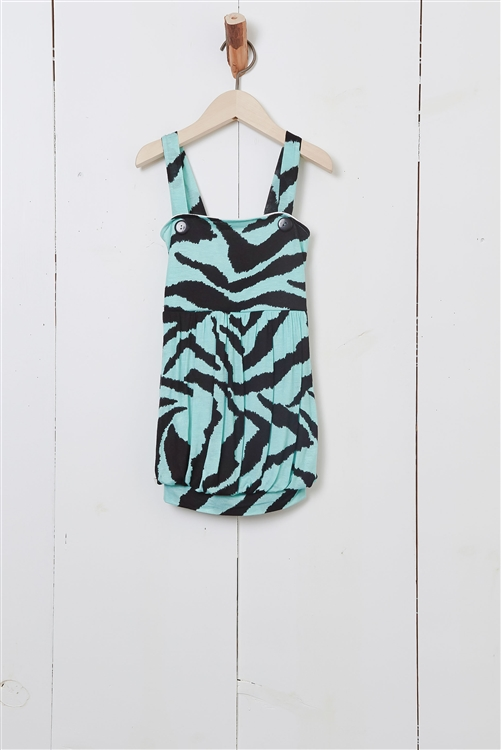 Black And Aqua Girls Animal Print Tunic Top