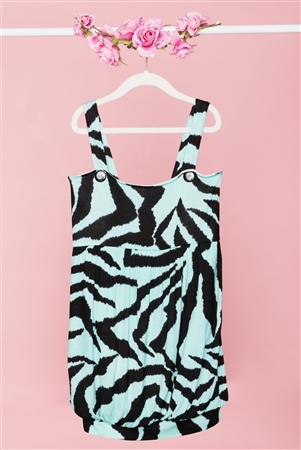 Girls Turquoise Black Zebra Print Dress