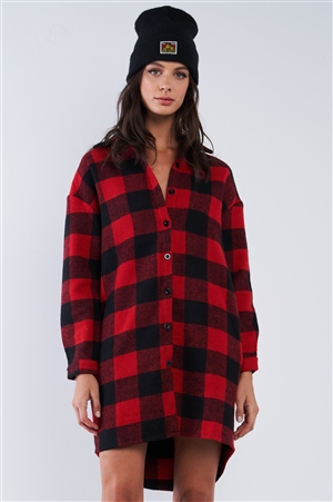 Red And Black Asymmetrical Cotton Checkered Print Relaxed Fit Long Sleeve Button Down Sweater Jacket With Pockets