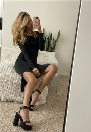 Black Side Pocket Midi Dress With Side Slits