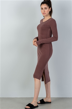 Marsala Side Pocket Maxi Dress With Side Slits