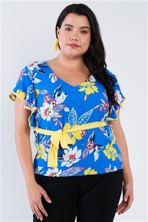 Plus Size Blue Tropical Floral Print Mock Sleeve Chiffon Semi-Sheer Top