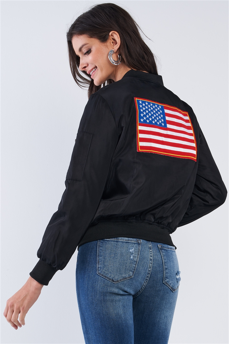 American Made Black Multicolor Patriotic Stamp Flight Bomber Jacket /2-2-2