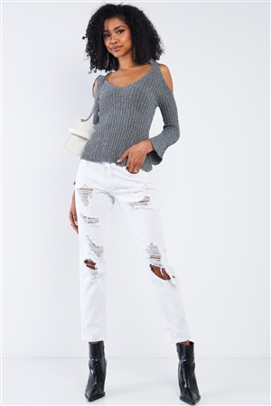 Concrete Grey Silver Tinsel Knitted Peek-A-Boo Self Tie Shoulder Top
