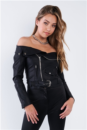 Black Off The Shoulder Vegan Leather Moto Jacket