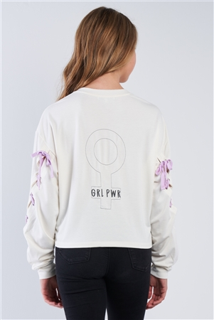 "Pristine Long Sleeve ""GRL POWER"" Lace-Up Sleeve Pullover Top"