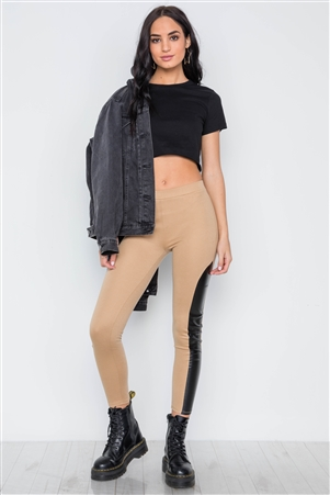 Camel Faux Leather Sides Mid-Rise Leggings