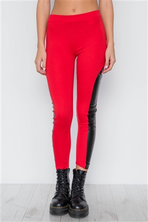 Red Blue Faux Leather Sides Mid-Rise Leggings