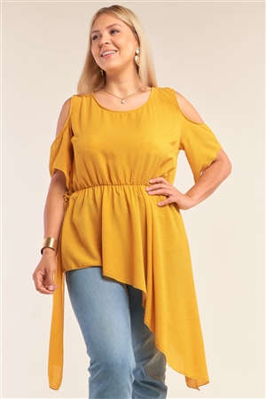 Junior Plus Size Yellow Polka Dot Asymmetrical Cut-Out Shoulder Self-Tie Side Detail Round Neck Top