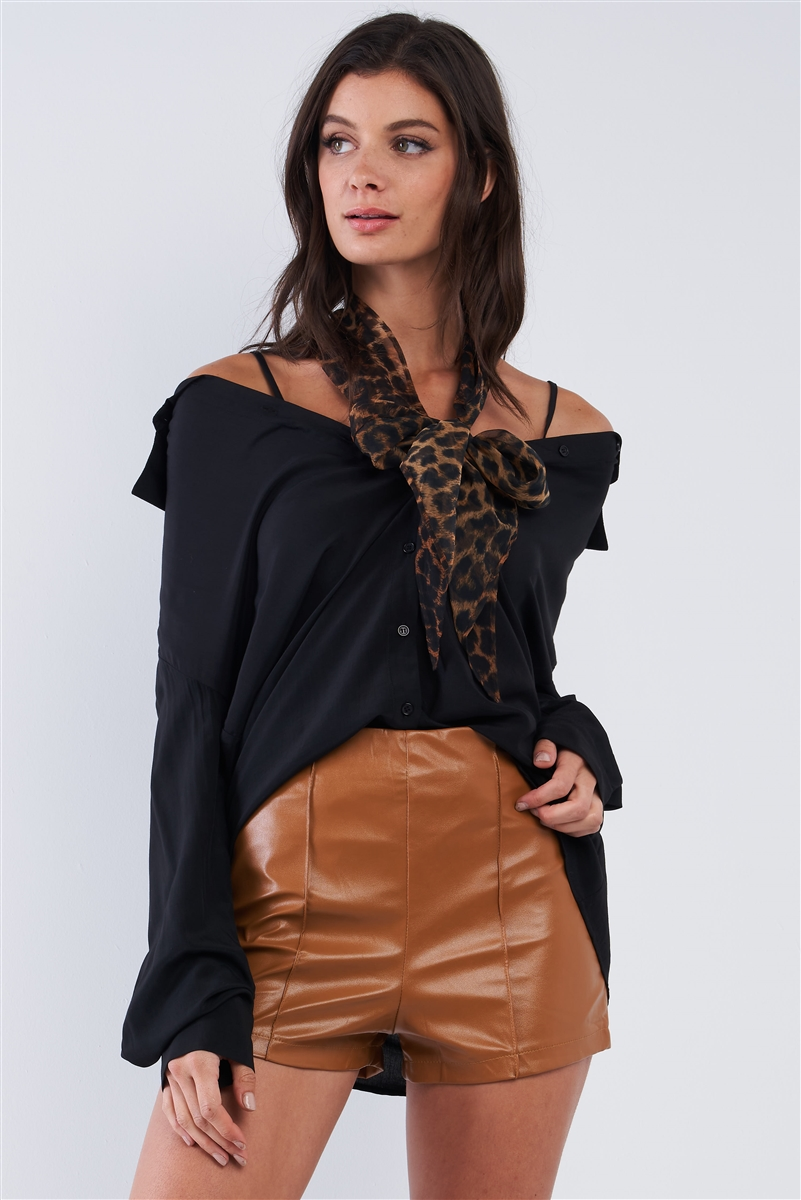 Black Oversized Button Down Off-The-Shoulder Long Sleeve Boyfriend Style Top /1-2-2