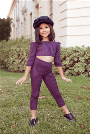 Kids Plum Ribbed Off-The-Shoulder Crop Top LeggingTwo Piece Set
