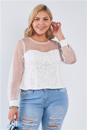Junior Plus Size Ivory Long Sleeve Sheer Mesh Floral Lace Corset Top