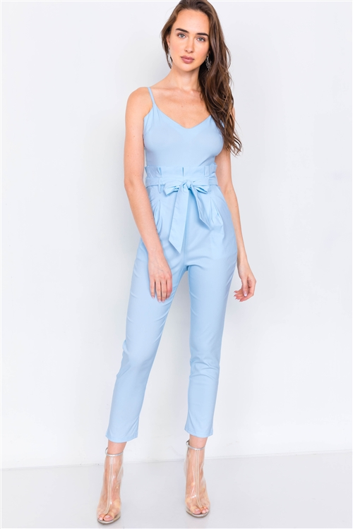 Baby Blue Mock High-Waist V-Neck Cami Casual Chic Jumpsuit