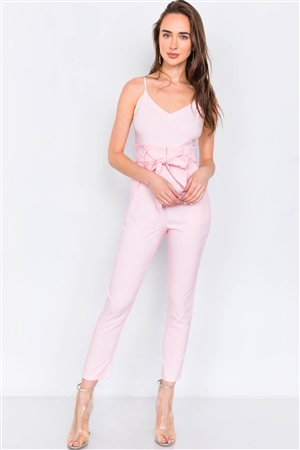 Pink Mock High-Waist V-Neck Cami Casual Chic Jumpsuit