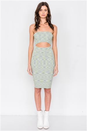 Green Multi Strapless Bodycon Center Cut Out Ribbed Midi Dress