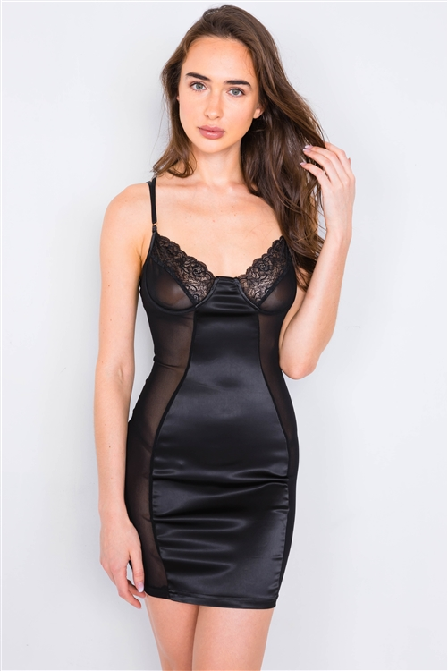 Black Satin Mesh Cut-Out Floral Lace Trim Slip Mini Dress /2-2-1