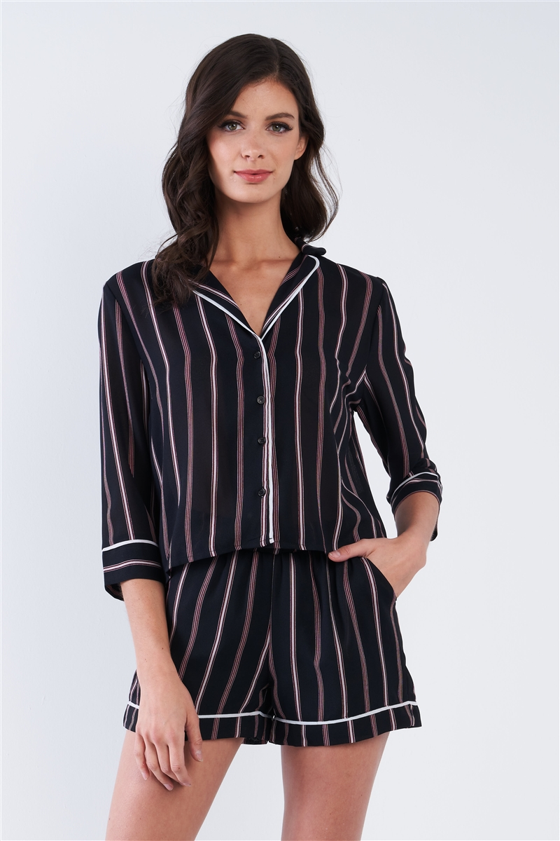 Black Stripe Chiffon Long Sleeve Button Top & Shorts Set