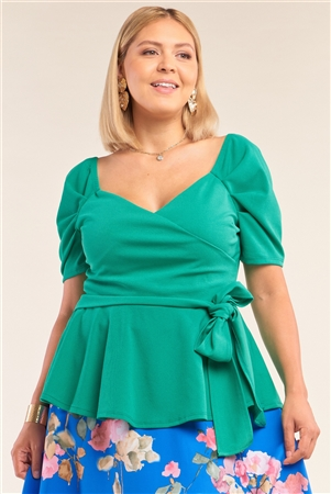 Junior Plus Size Green V-Neck Mini Puff Sleeve Pleated Wrap Self-Tie Waist Flared Hem Top