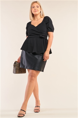 Junior Plus Size Black V-Neck Mini Puff Sleeve Pleated Wrap Self-Tie Waist Flared Hem Top