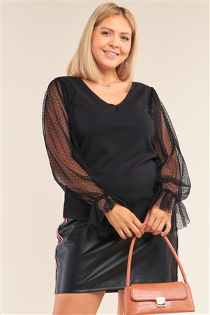 Junior Plus Size Black Relaxed Fit Deep Plunge V-Neck Long Polka Dot Mesh Balloon Sleeve Top /2-2-2