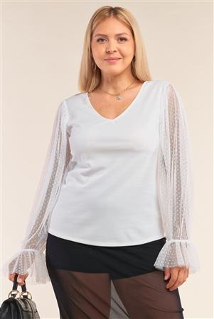 Junior Plus Size White Relaxed Fit Deep Plunge V-Neck Long Polka Dot Mesh Balloon Sleeve Top /2-2-2