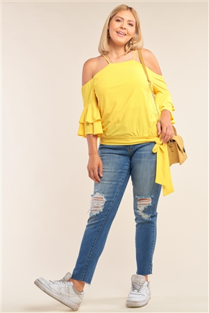 Junior Plus Size Yellow Sleeveless Off-The-Shoulder Layered Angel Sleeve Self-Tie Hem Top