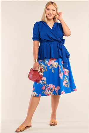 Junior Plus Size Blue V-Neck Mini Puff Sleeve Pleated Wrap Self-Tie Waist Flared Hem Top