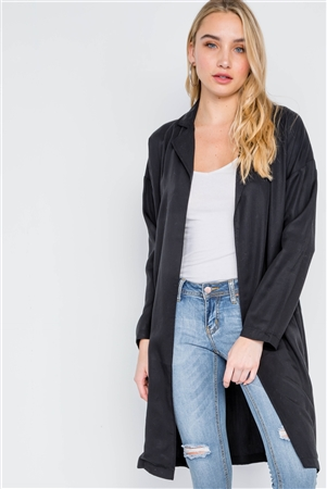Black Solid Long Sleeve Tencel Coat