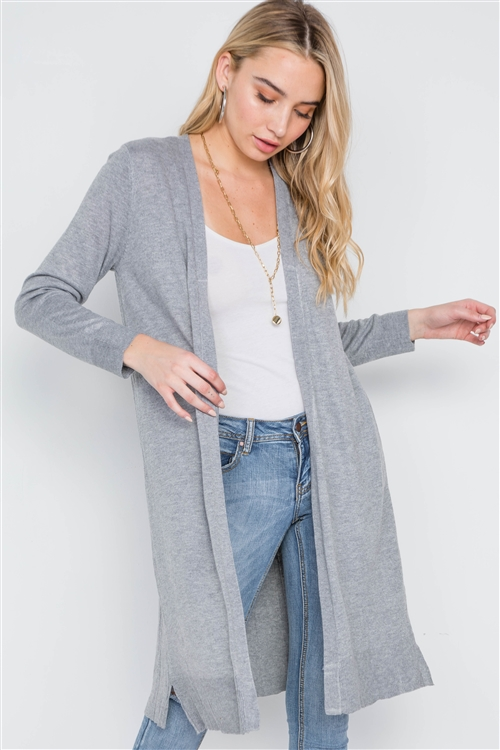 Heather Grey Open Front Pleated Back Cardigan