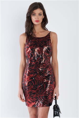 Red & Black Sequin Sleeveless Open Back Classic Mini Dress