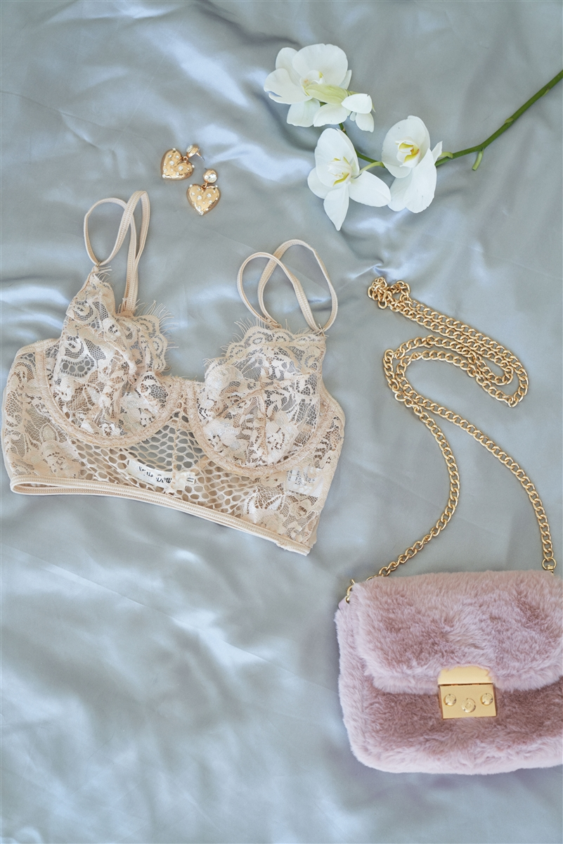 Floral Lace Cropped Cami Underwire Bralette /2-2-2