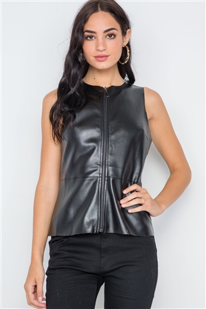 Black Raw Cut Zip-Up Faux Leather Vest