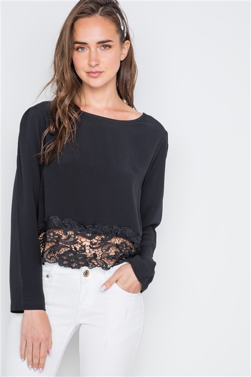 Black Long Sleeve Crochet Hem Top