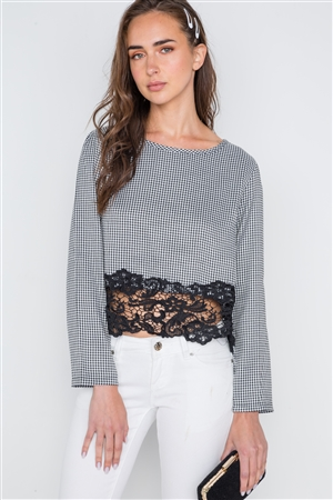 Black White Gingham Long Sleeve Crochet Hem Top