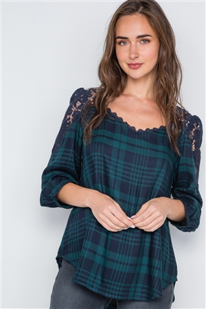 Multi Green Plaid Combo Lace 3/4 Sleeve Top