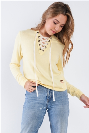 Pale Banana Long Sleeve Lace Up Front Top