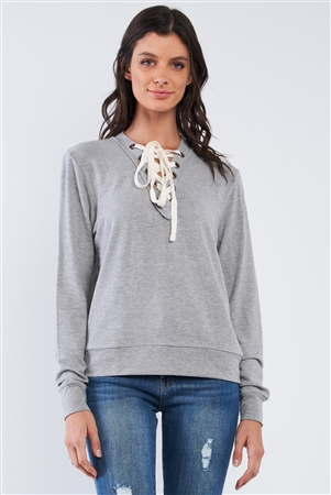 Heather Grey Casual Long Sleeve Lace Up Front Detail Top /2-2