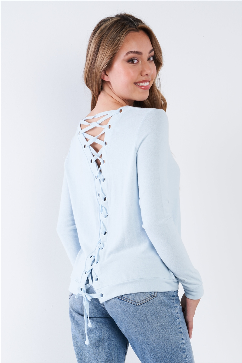 Baby Blue Long Sleeve Scoop Neck Lace Up Back Top