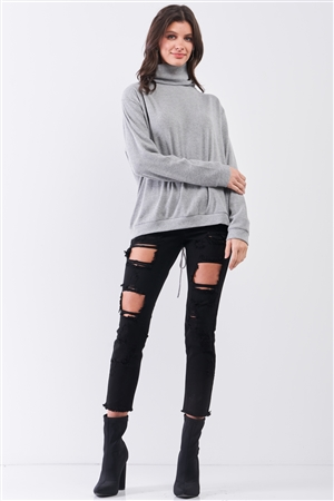 Heather Grey Long Sleeve Cut Out Lace Up Tie Back Detail Turtleneck Top