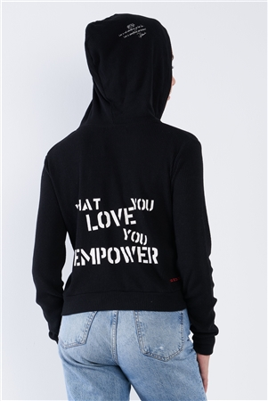 "Black Ribbed Knit ""What You Love You Empower"" Zip Up Hoodie"
