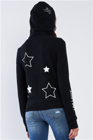"Black Star Embroidered ""I Am Light"" Graphic Zip Up Hoodie /1-2-2-1"