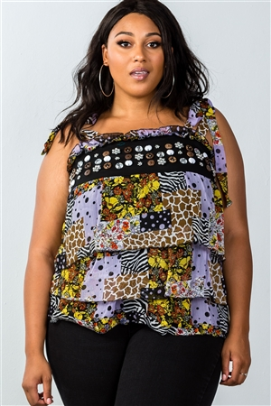 Multi Plus Size Tie-Shoulder Layered Top