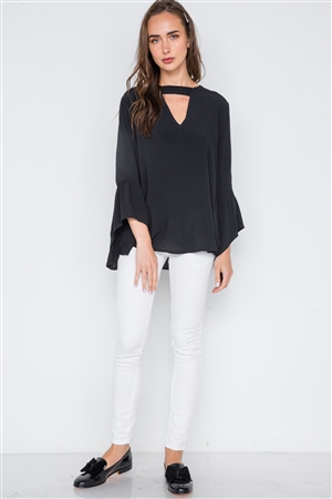 Black V-Cut Out Long Bell Sleeve Solid Top