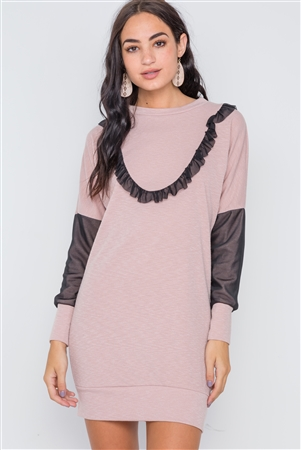 Mauve Mash Detail Mini Sweater Dress