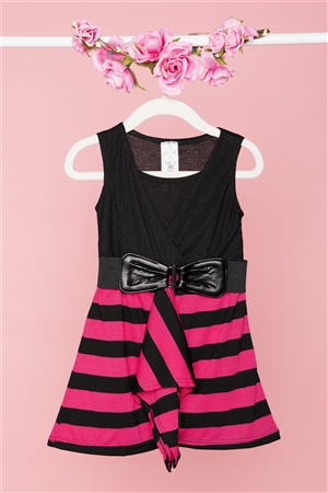 Girls Pink Black Stripped Sleeveless Front Ruffle Belted Dress