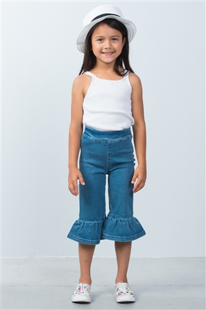 Girls Denim Ruffle Hem Pants
