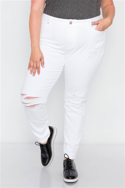 Cotton Spandex White Plus Size Distressed Skinny Jeans