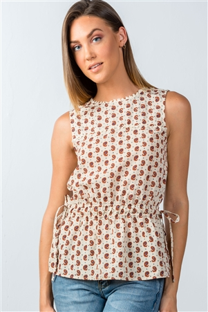 Taupe Sleeveless Side-Tie Top